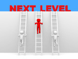 3d people - man, person with ladder. Next level. Progress concep