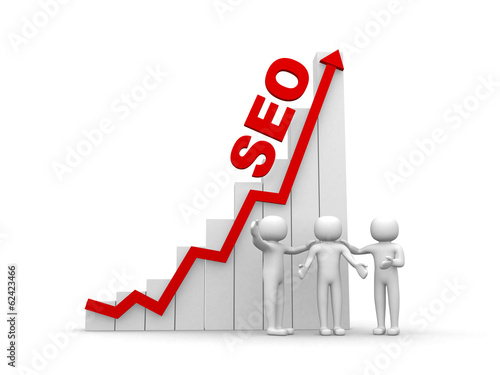 3d man - people, person and graph. SEO concept.