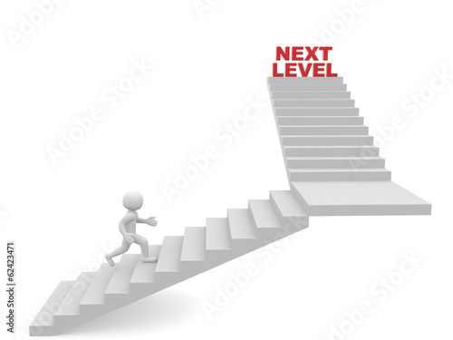 3d man climbs the ladder of next level.