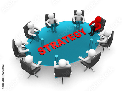3D men sitting at a round table and having business meeting - 3d