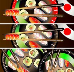 Sushi banners set