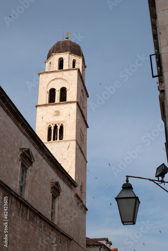Dominican church tower in Dubrovnik, Croatia