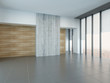 Empty living room interior with wooden and concrete wall