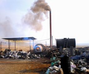 Secondary lead smelter in the Egipt desert