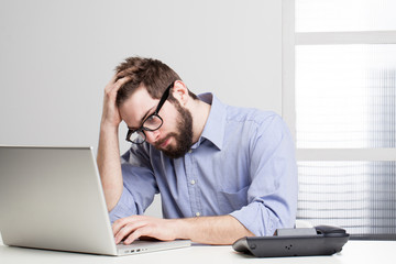 overworked businessman.