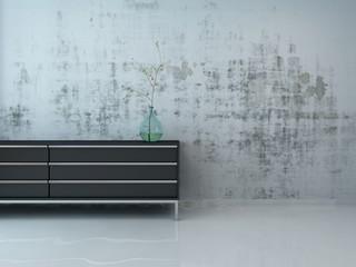 Stylish black cupboard against concrete wall