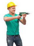 smiling manual worker in helmet with drill machine