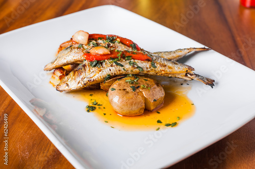 Grilled Sardines Plate with Red Pepper and Potato