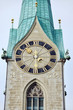 Close view of clock tower in Zurich