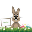brown happy bunny sign board colorful eggs isolated