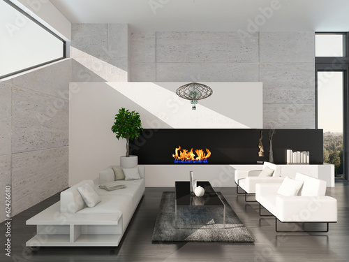 Modern living room interior with stone wall and fireplace