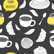 Cartoon breakfast seamless pattern