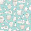 Coffee break background. Vector doodle seamless pattern
