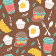 Cartoon food background. Seamless vector pattern