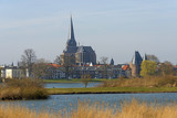 Ancient Gothic church along a river