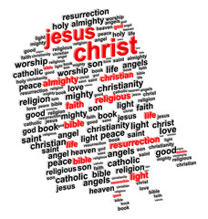 Jesus Christ Abstract Portrait 3D Word Cloud Concept Vector