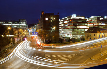 Long exposure shot of a busy street at night