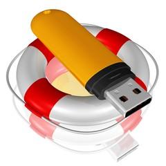 Speicherstift im Rettungsring, Datenschutz, Datensicherheit