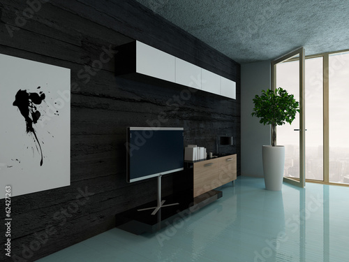 Living room interior with cupboard against black stone wall