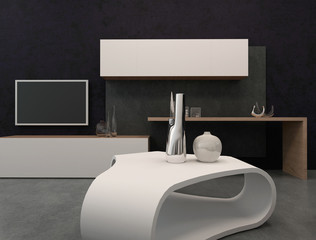 Modern tv rack and cupboard against wall