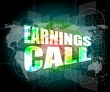 earnings call words on touch screen interface