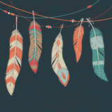 Vector colorful set of ethnic decorative feathers