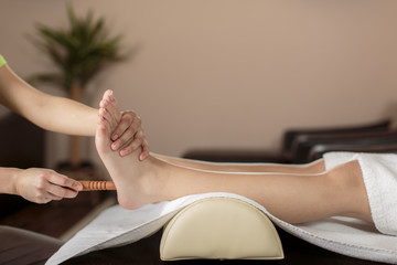 Closeup of the foot massage