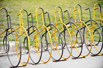 Empty public bicycle rack