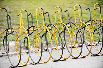 Empty public bicycle rack