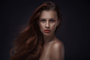 portrait of beautiful woman with creative makeup