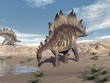 Stegosaurus near water - 3D render - 62428001