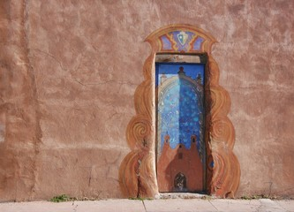 Weathered painted door in New Mexico