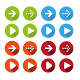 Vector illustration of plain round arrow icons