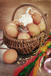rural braided basket with eggs and sheep for easter in vintage s
