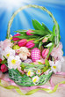 easter basket on blue background