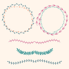 Vector set with floral frames and borders
