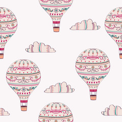 Vector seamless pattern with hot air balloons and clouds