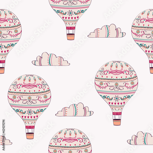 Vector seamless pattern with hot air balloons and clouds - 62429296