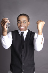 Black man excited about his car keys