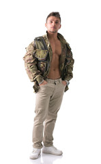 Muscular young man with military jacket, full body shot