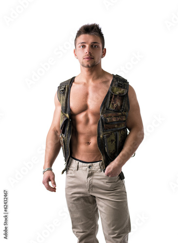 Muscular young man with military vest on naked torso
