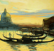 landscape with gondolas to Venice, painting, illustration