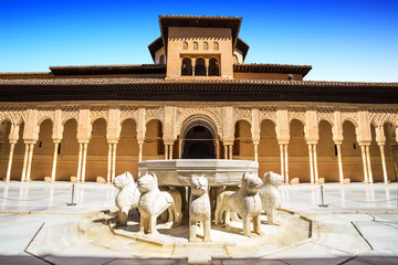 Famous Lion Fountain , Alhambra Palace,Granada (Andalusia),Spain
