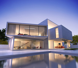 Modern house cube with pool
