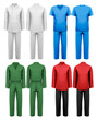 Set of white and colorful work clothes. Design template. Vector