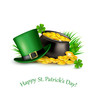 Saint Patrick's Day background with a green hat and gold coins i