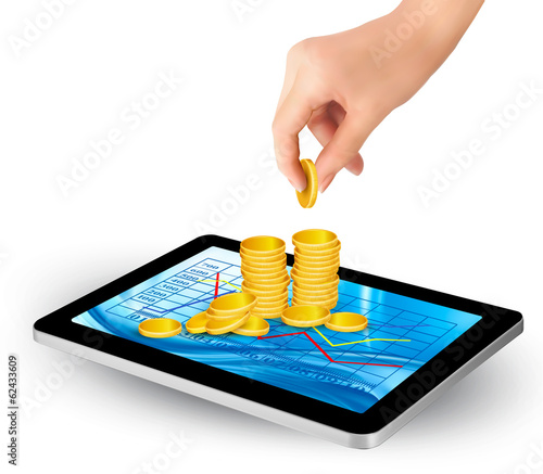 Pile of coins on a tablet. Internet job concept. Vector.