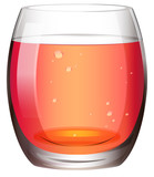 A clear drinking glass with juice