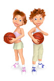 Boy and girl with balls for basket-ball