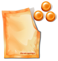 A pack of orange throat lozenges